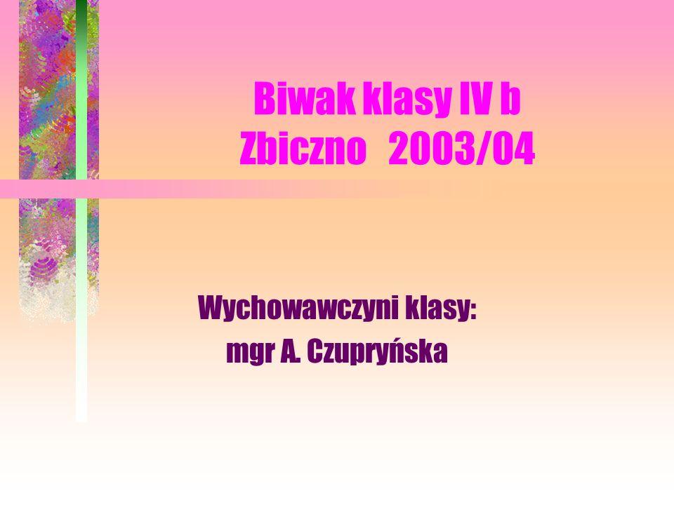 Wychowawczyni klasy: mgr A. Czupryńska Biwak klasy IV b Zbiczno 2003/04