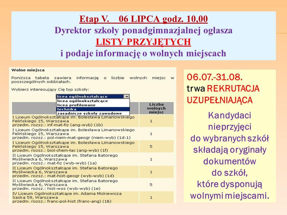 Etap V. 06 LIPCA godz. 10,00 Dyrektor szkoły ponadgimnazjalnej ogłasza LISTY PRZYJĘTYCH i podaje informację o wolnych miejscach 06.07.-31.08. trwa REK