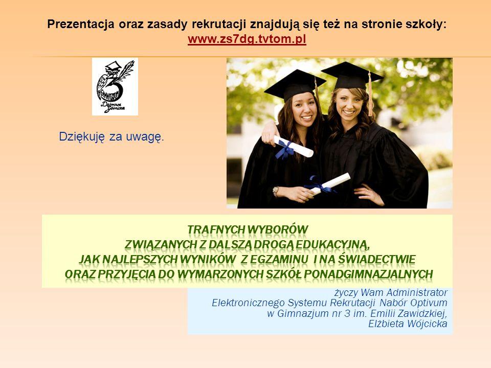 życzy Wam Administrator Elektronicznego Systemu Rekrutacji Nabór Optivum w Gimnazjum nr 3 im. Emilii Zawidzkiej, Elżbieta Wójcicka Dziękuję za uwagę.