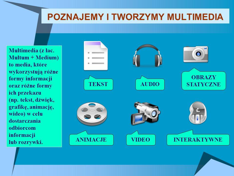 POZNAJEMY I TWORZYMY MULTIMEDIA Multimedia (z łac. Multum + Medium) to media, które wykorzystują różne formy informacji oraz różne formy ich przekazu