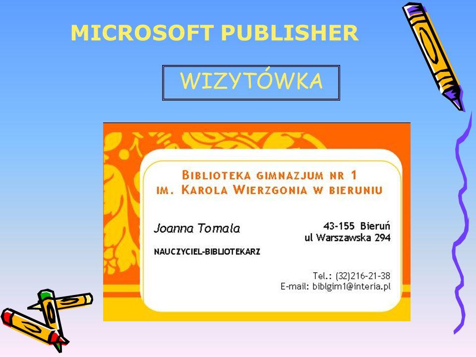MICROSOFT PUBLISHER WIZYTÓWKA