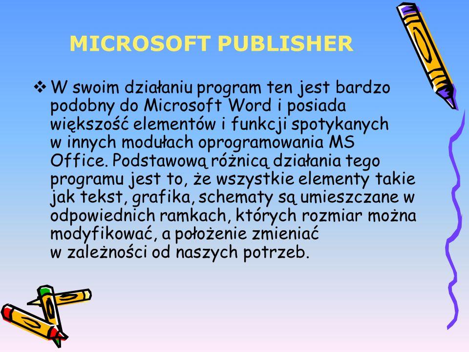 MICROSOFT PUBLISHER W swoim działaniu program ten jest bardzo podobny do Microsoft Word i posiada większość elementów i funkcji spotykanych w innych m