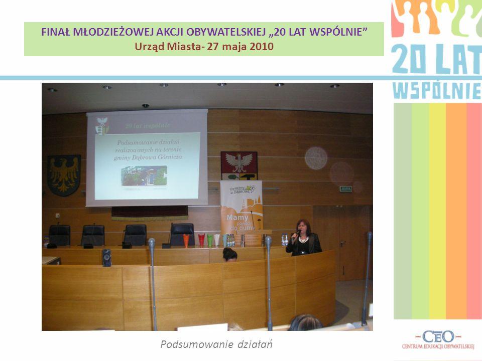Podsumowanie działań FINAŁ MŁODZIEŻOWEJ AKCJI OBYWATELSKIEJ 20 LAT WSPÓLNIE Urząd Miasta- 27 maja 2010