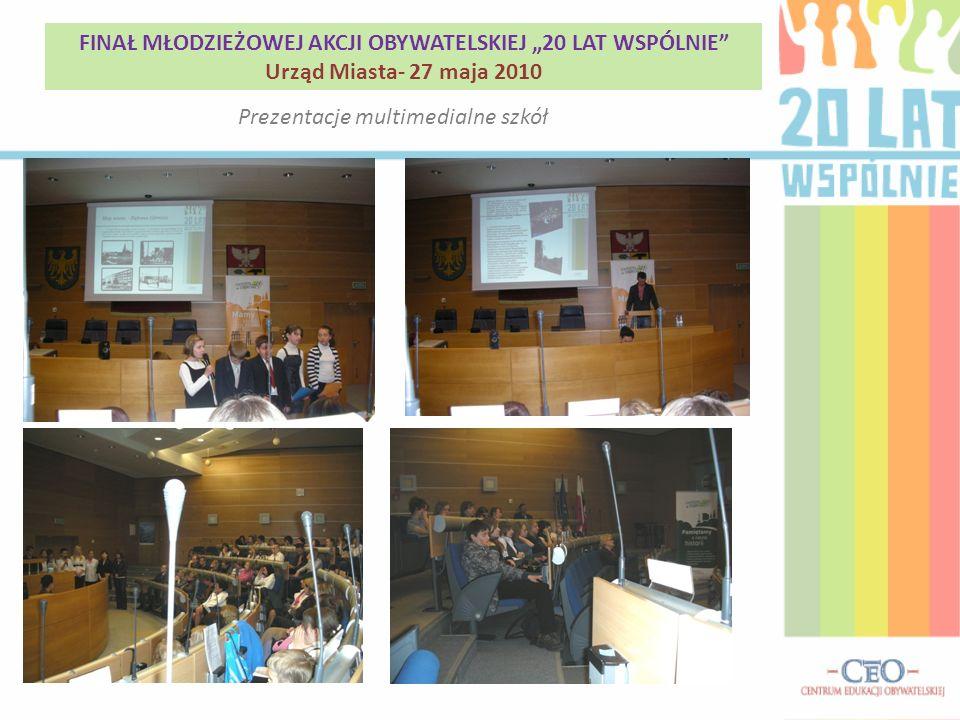 Prezentacje multimedialne szkół FINAŁ MŁODZIEŻOWEJ AKCJI OBYWATELSKIEJ 20 LAT WSPÓLNIE Urząd Miasta- 27 maja 2010
