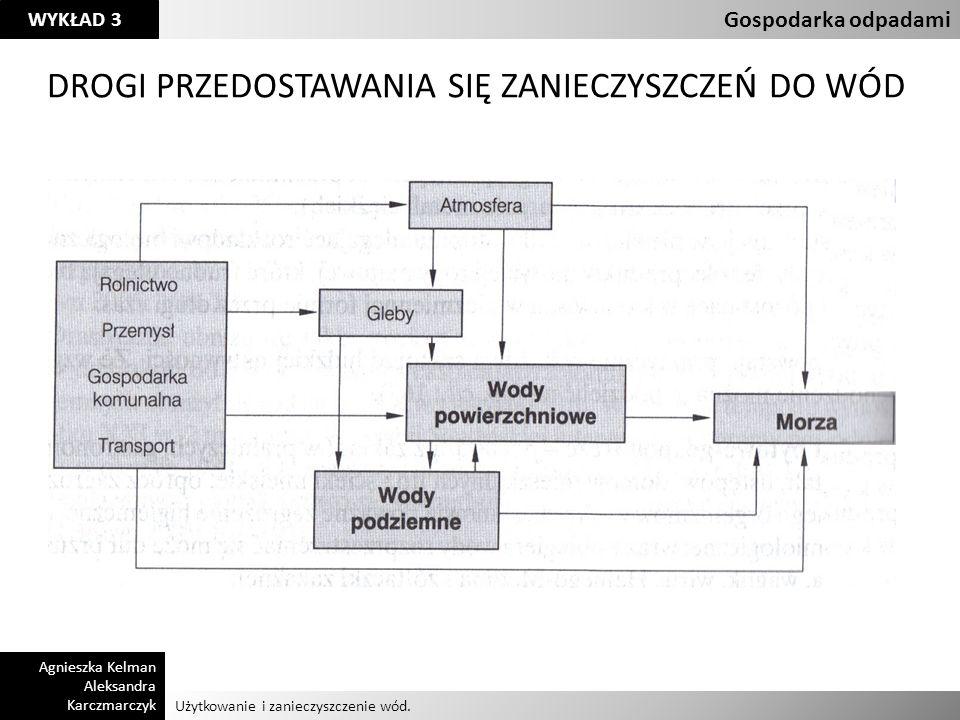 Użytkowanie i zanieczyszczenie wód. Gospodarka odpadami Agnieszka Kelman Aleksandra Karczmarczyk WYKŁAD 3 DROGI PRZEDOSTAWANIA SIĘ ZANIECZYSZCZEŃ DO W