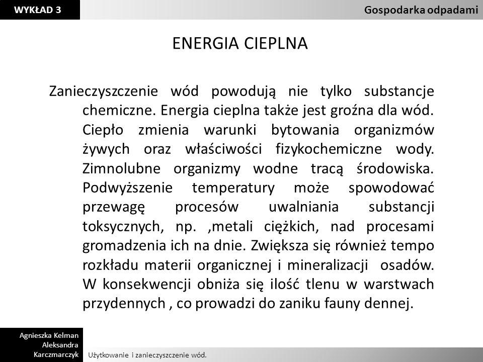 Użytkowanie i zanieczyszczenie wód. Gospodarka odpadami Agnieszka Kelman Aleksandra Karczmarczyk WYKŁAD 3 ENERGIA CIEPLNA Zanieczyszczenie wód powoduj