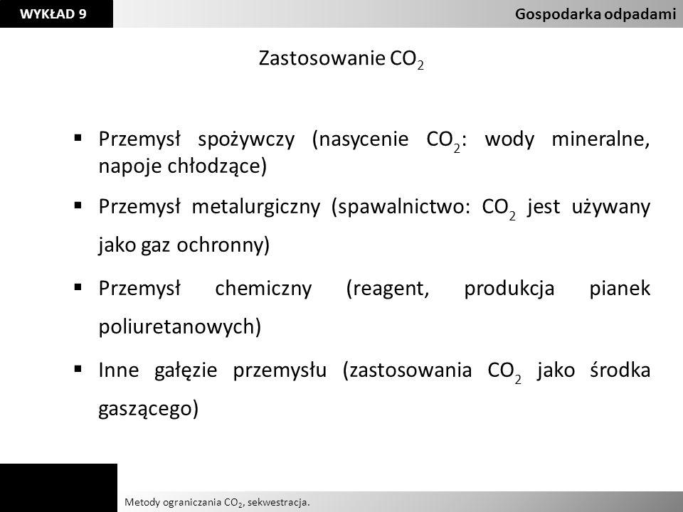 Agnieszka Kelman Aleksandra Karczmarczyk Metody ograniczania CO 2, sekwestracja. Gospodarka odpadami WYKŁAD 9 Zastosowanie CO 2 Przemysł spożywczy (na