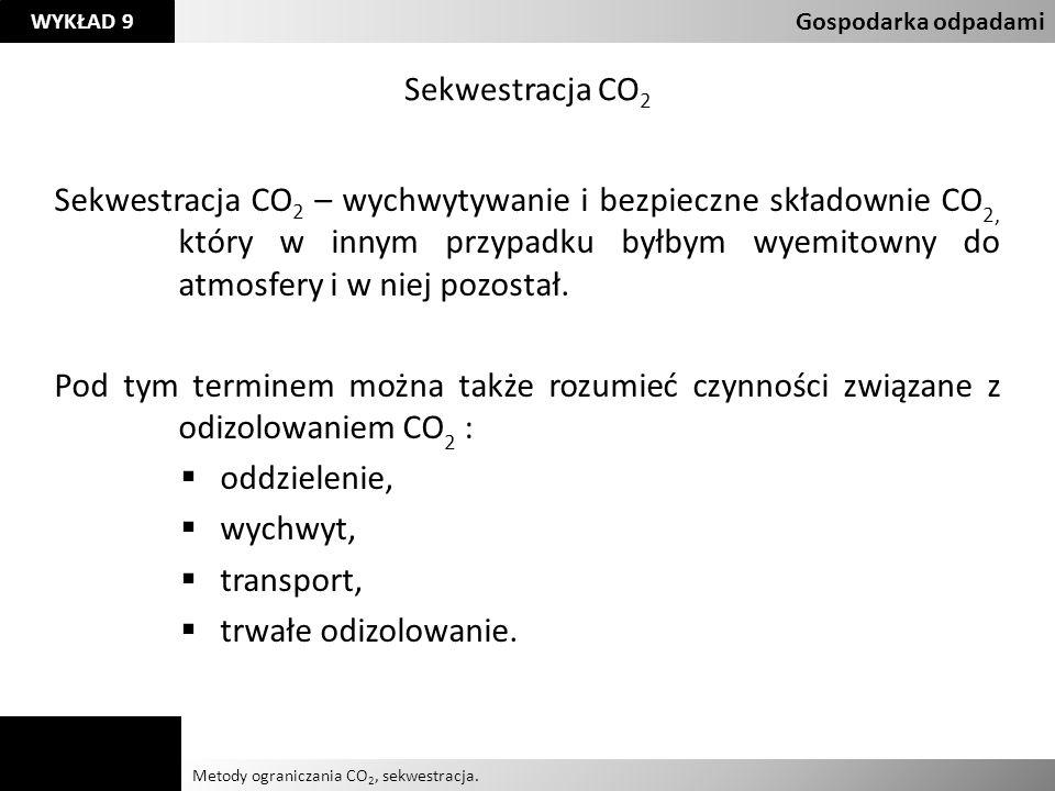 Agnieszka Kelman Aleksandra Karczmarczyk Metody ograniczania CO 2, sekwestracja. Gospodarka odpadami WYKŁAD 9 Sekwestracja CO 2 Sekwestracja CO 2 – wy