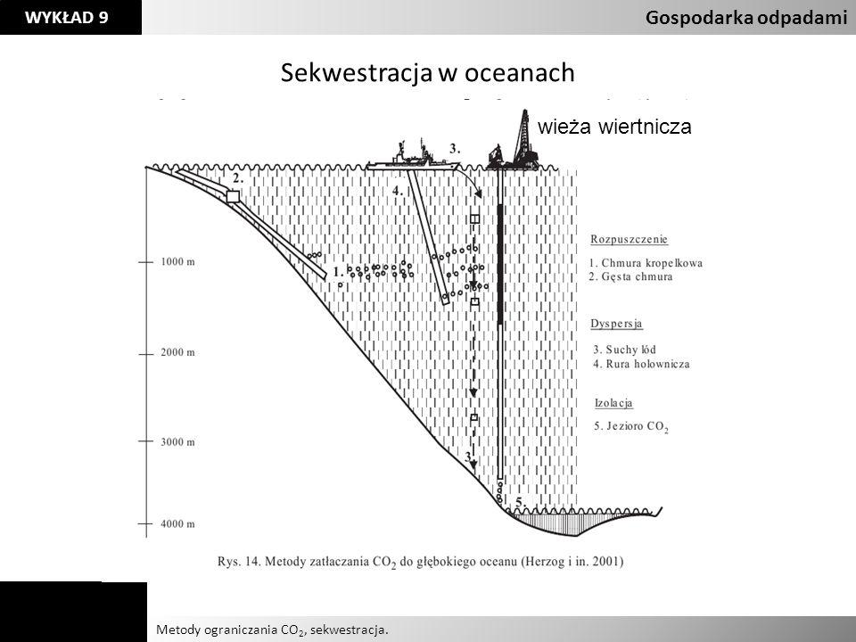 Agnieszka Kelman Aleksandra Karczmarczyk Metody ograniczania CO 2, sekwestracja. Gospodarka odpadami WYKŁAD 9 Sekwestracja w oceanach wieża wiertnicza