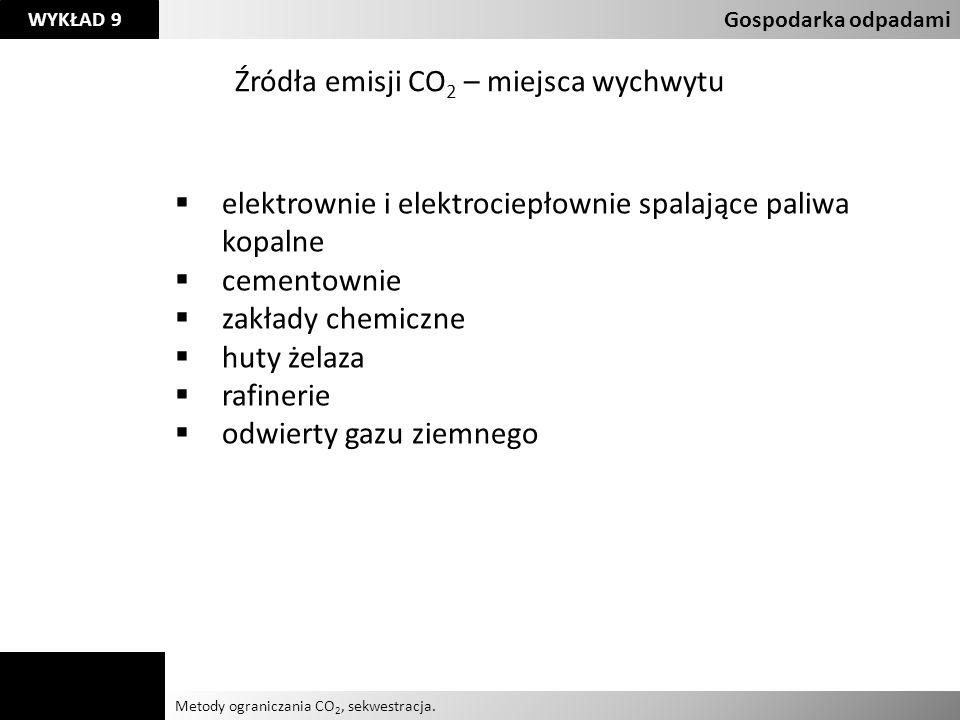 Agnieszka Kelman Aleksandra Karczmarczyk Metody ograniczania CO 2, sekwestracja. Gospodarka odpadami WYKŁAD 9 Źródła emisji CO 2 – miejsca wychwytu el