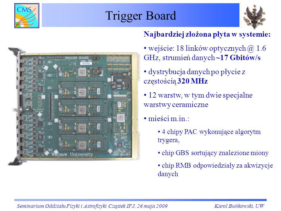 Trigger Board Seminarium Oddziału Fizyki i Astrofizyki Cząstek IFJ, 26 maja 2009Karol Buńkowski, UW Najbardziej złożona płyta w systemie: wejście: 18