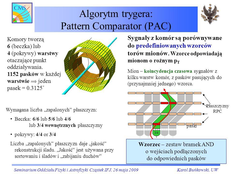 Algorytm trygera: Pattern Comparator (PAC) Wymagana liczba zapalonych płaszczyzn: Beczka: 6/6 lub 5/6 lub 4/6 lub 3/4 wewnętrznych płaszczyzny pokrywy