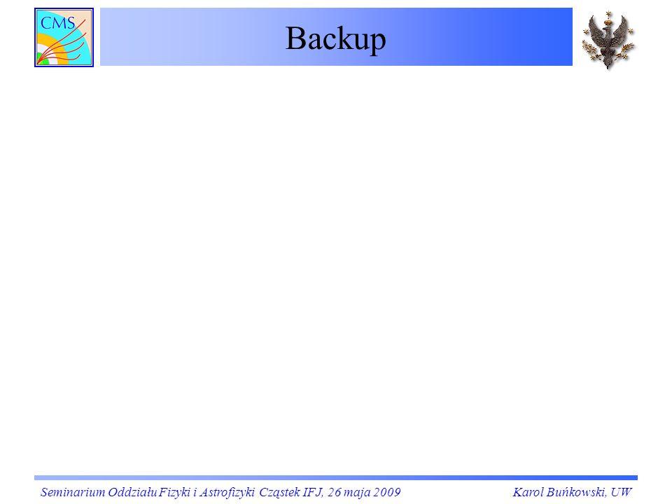 Backup Seminarium Oddziału Fizyki i Astrofizyki Cząstek IFJ, 26 maja 2009Karol Buńkowski, UW