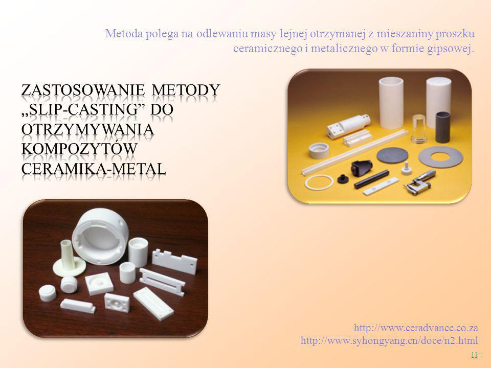 Metoda polega na odlewaniu masy lejnej otrzymanej z mieszaniny proszku ceramicznego i metalicznego w formie gipsowej. http://www.ceradvance.co.za http