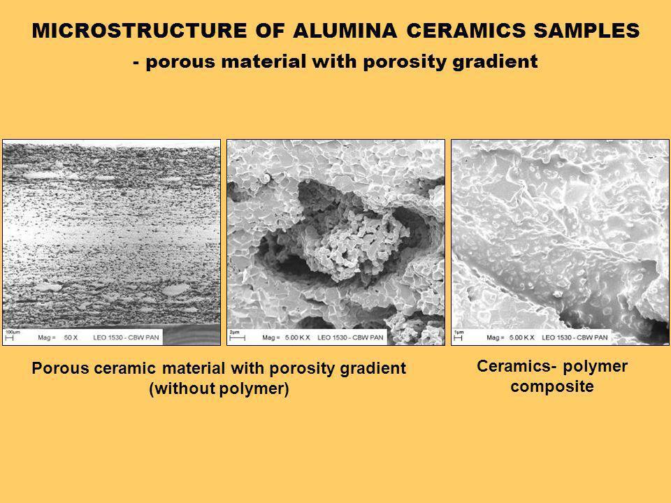 MICROSTRUCTURE OF ALUMINA CERAMICS SAMPLES - porous material with porosity gradient Porous ceramic material with porosity gradient (without polymer) C