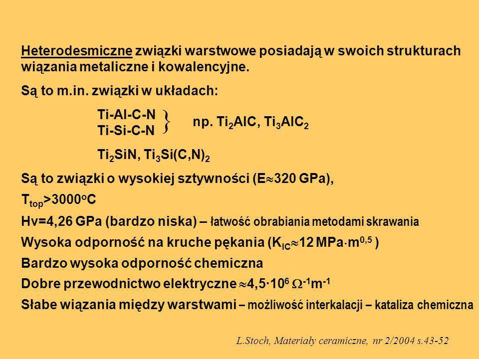 Heterodesmiczne związki warstwowe posiadają w swoich strukturach wiązania metaliczne i kowalencyjne. Są to m.in. związki w układach: Ti-Al-C-N Ti-Si-C