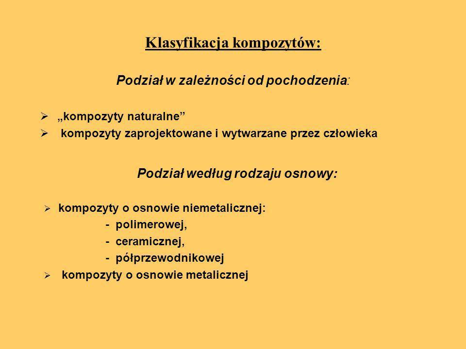 Klasyfikacja kompozytów: Podział w zależności od pochodzenia: kompozyty naturalne kompozyty zaprojektowane i wytwarzane przez człowieka Podział według