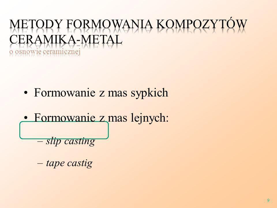 Formowanie z mas sypkich Formowanie z mas lejnych: –slip casting –tape castig 9