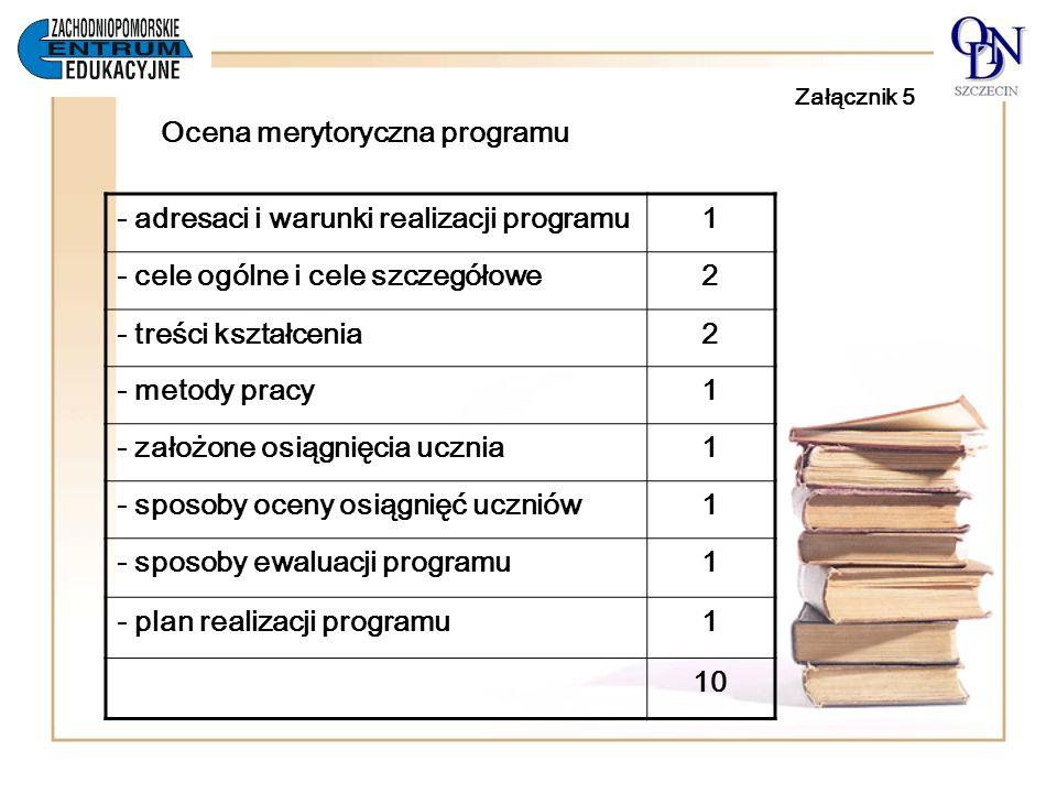 Załącznik 5 Ocena merytoryczna programu - adresaci i warunki realizacji programu1 - cele ogólne i cele szczegółowe2 - treści kształcenia2 - metody pra