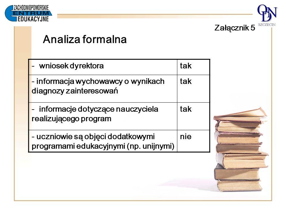 Załącznik 5 Analiza formalna - wniosek dyrektoratak - informacja wychowawcy o wynikach diagnozy zainteresowań tak - informacje dotyczące nauczyciela r