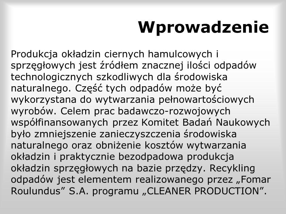 Wprowadzenie Produkcja okładzin ciernych hamulcowych i sprzęgłowych jest źródłem znacznej ilości odpadów technologicznych szkodliwych dla środowiska n
