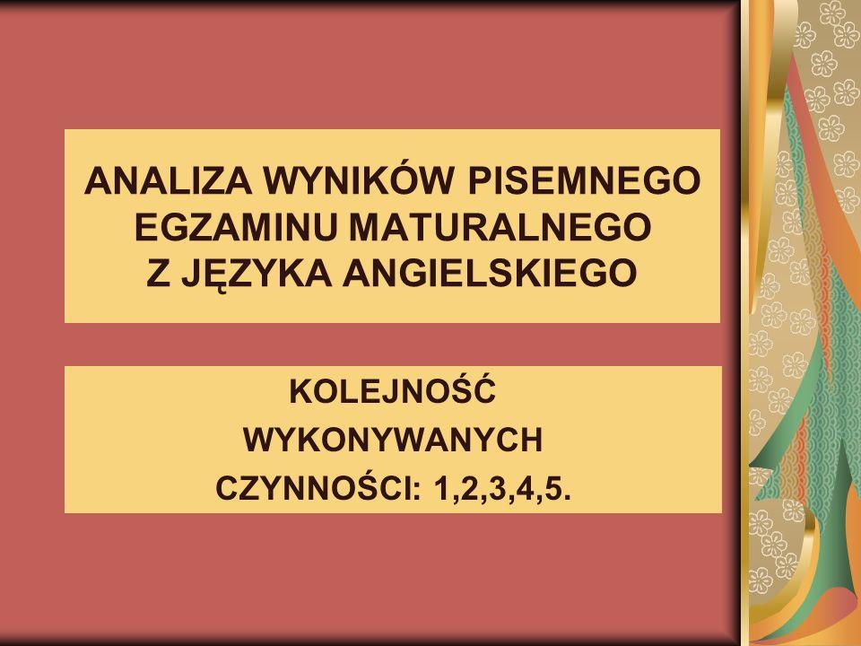 ANALIZA WYNIKÓW PISEMNEGO EGZAMINU MATURALNEGO Z JĘZYKA ANGIELSKIEGO KOLEJNOŚĆ WYKONYWANYCH CZYNNOŚCI: 1,2,3,4,5.