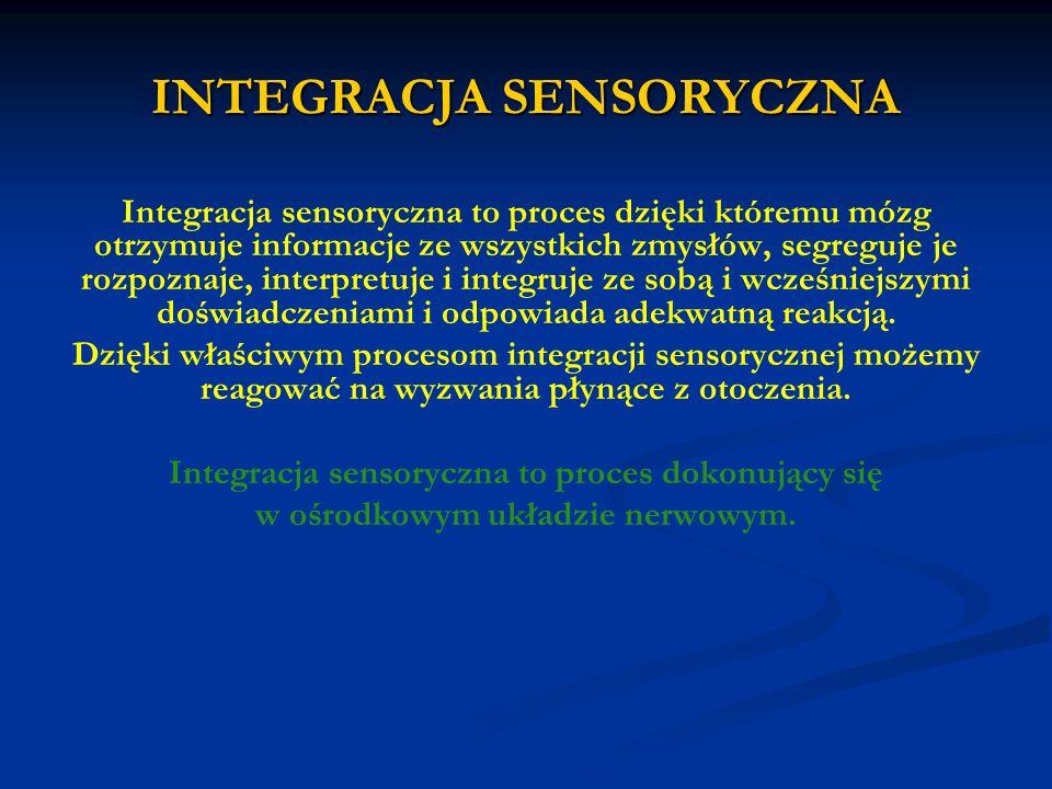 INTEGRACJA SENSORYCZNA Integracja sensoryczna to proces dzięki któremu mózg otrzymuje informacje ze wszystkich zmysłów, segreguje je rozpoznaje, inter