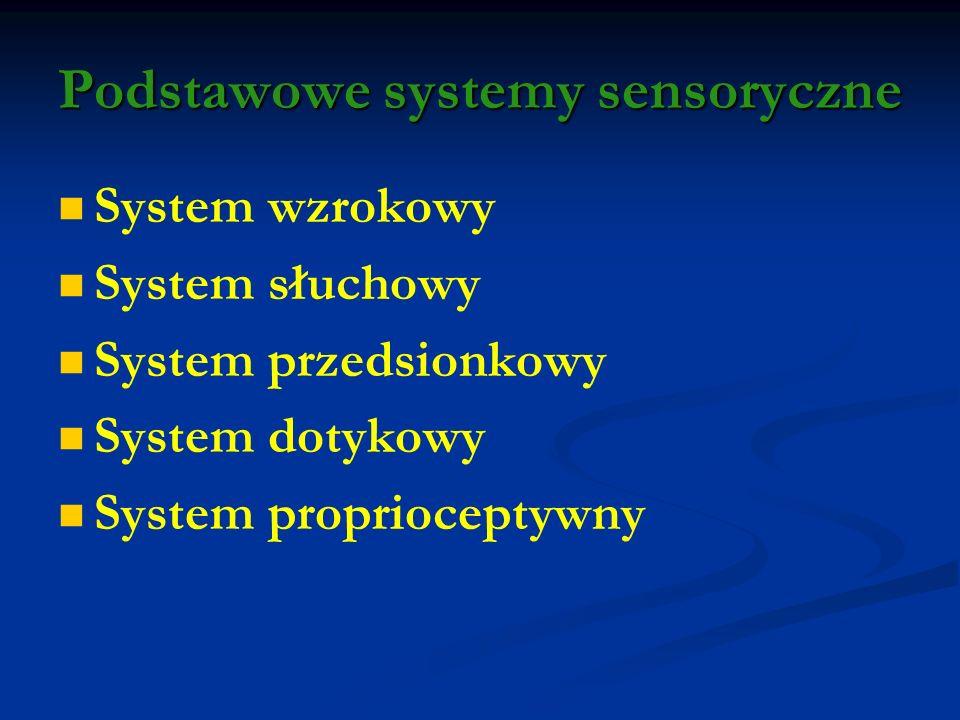 Podstawowe systemy sensoryczne System wzrokowy System słuchowy System przedsionkowy System dotykowy System proprioceptywny