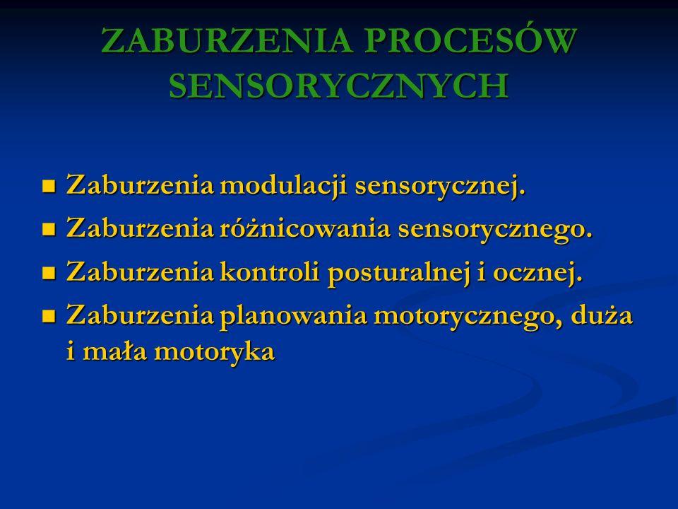ZABURZENIA PROCESÓW SENSORYCZNYCH Zaburzenia modulacji sensorycznej. Zaburzenia modulacji sensorycznej. Zaburzenia różnicowania sensorycznego. Zaburze