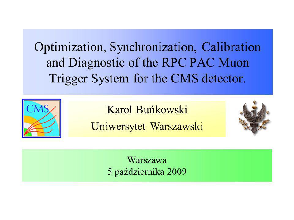 Synchronizacja sygnałów RPC- miony kosmiczne Karol Buńkowski, UW BX sygnału z komory względem BX-u trygera Tryger Dane za późno Sygnały ze wszystkich komór jednego koła po poprawkach Dane za wcześnie Poprawka do pozycji okienka synchronizacyjnego dla poszczególnych LB Procedura synchronizacji została przetestowana dla mionów kosmicznych: Parametry zostały policzone dla mionów lecących pionowo z góry Po zebraniu danych obliczono poprawki do pozycji okienka synchronizacyjnego, analizując rozkłady BX-ów sygnałów względem BX-u trygera Warszawa, 5 października 2009 BX – numer kolejnego przecięcia paczek