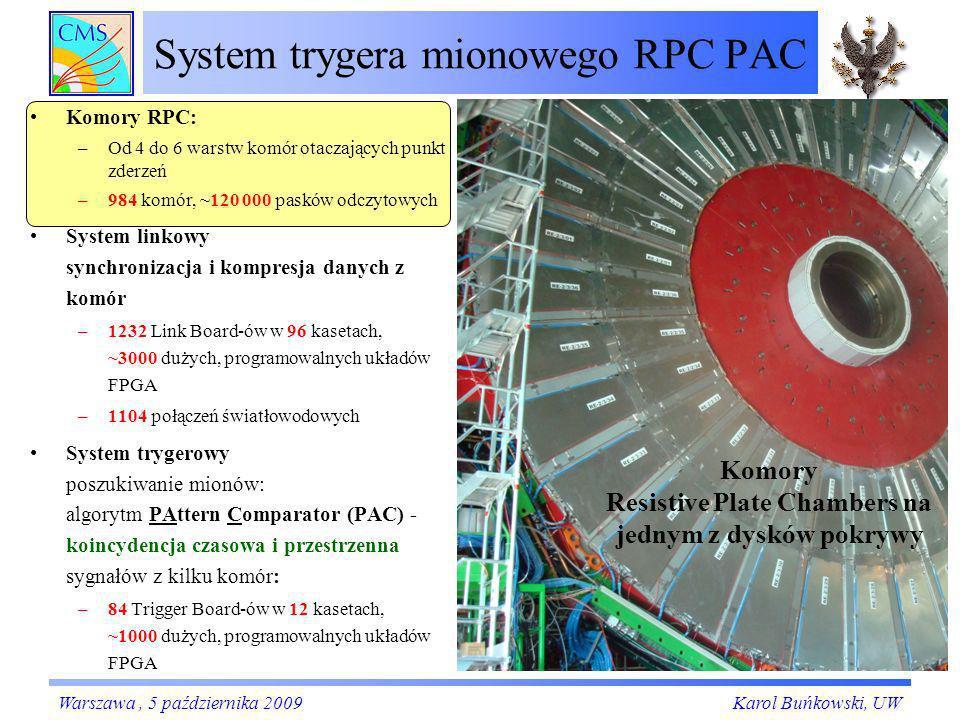 System trygera mionowego RPC PAC Karol Buńkowski, UWWarszawa, 5 października 2009 Komory Resistive Plate Chambers na jednym z dysków pokrywy Komory RP