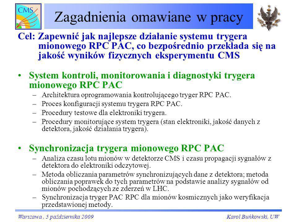 System trygera mionowego RPC PAC Karol Buńkowski, UWWarszawa, 5 października 2009 Płyty Link Board z podłączonymi światłowodami Komory RPC: –Od 4 do 6 warstw komór otaczających punkt zderzeń –984 komór, ~120 000 pasków odczytowych System linkowy synchronizacja i kompresja danych z komór –1232 Link Board-ów w 96 kasetach, ~3000 dużych, programowalnych układów FPGA –1104 połączeń światłowodowych System trygerowy poszukiwanie mionów: algorytm PAttern Comparator (PAC) - koincydencja czasowa i przestrzenna sygnałów z kilku komór: –84 Trigger Board-ów w 12 kasetach, ~1000 dużych, programowalnych układów FPGA