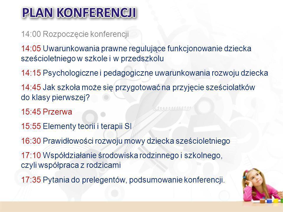14:00 Rozpoczęcie konferencji 14:05 Uwarunkowania prawne regulujące funkcjonowanie dziecka sześcioletniego w szkole i w przedszkolu 14:15 Psychologicz