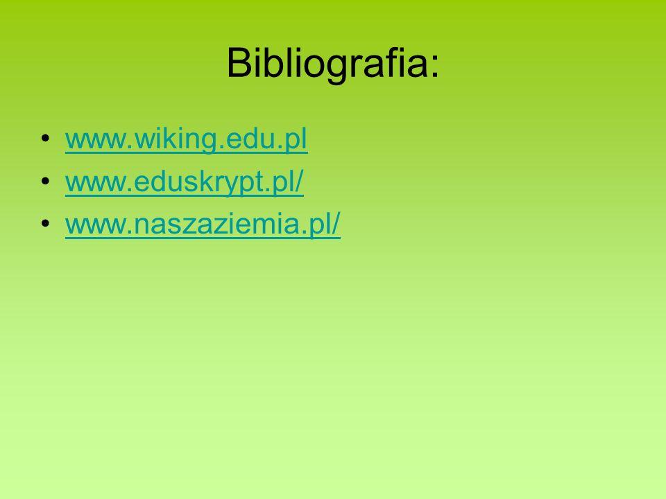 Bibliografia: www.wiking.edu.pl www.eduskrypt.pl/ www.naszaziemia.pl/