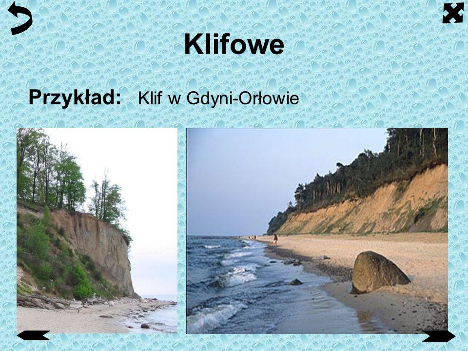 Klifowe Klif - stroma, często pionowa ściana brzegu morskiego lub jeziornego, utworzona wskutek procesu abrazji zachodzącego u jej podstawy na styku z