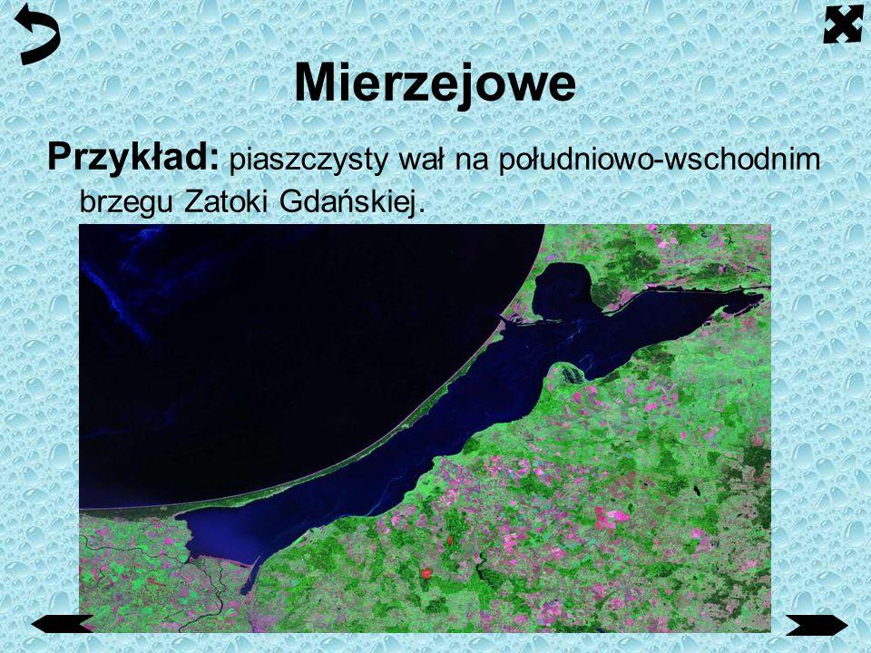 Mierzejowe Mierzeja - przedłużenie zasadniczego lądu stałego, lub jego półwyspu, usypane przez morskie fale przybrzeżne, tworzące piaszczystą barierę
