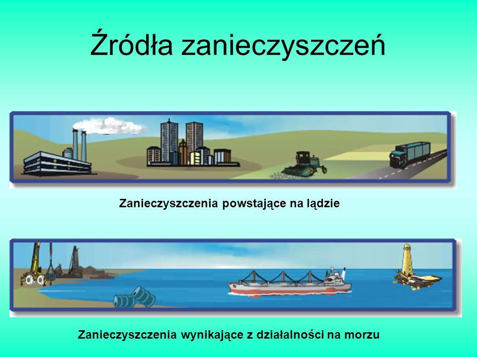 Źródła zanieczyszczeń Zanieczyszczenia powstające na lądzie Zanieczyszczenia wynikające z działalności na morzu