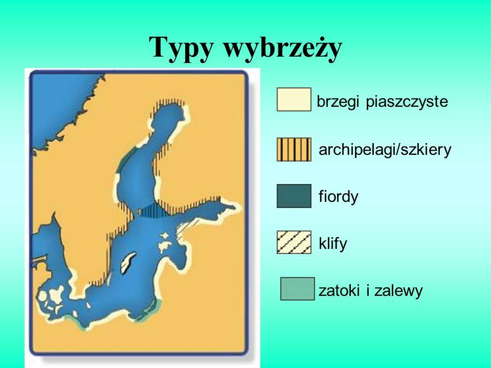 Typy wybrzeży brzegi piaszczyste archipelagi/szkiery fiordy klify zatoki i zalewy