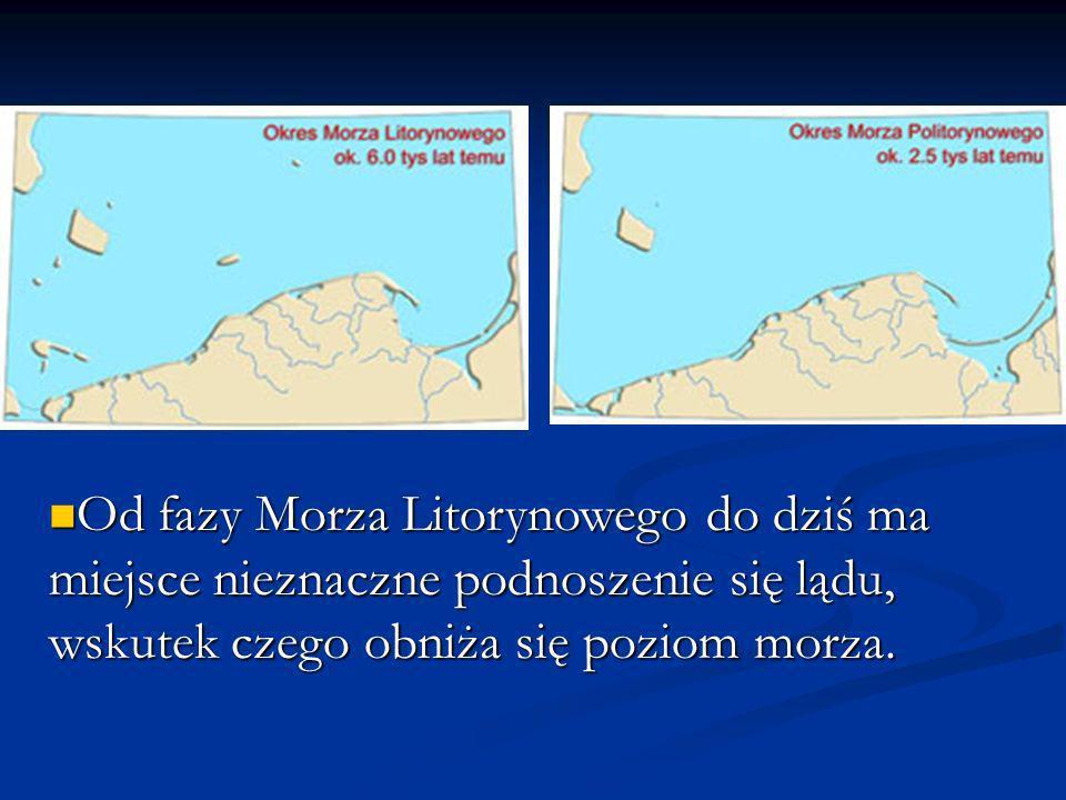 Od fazy Morza Litorynowego do dziś ma miejsce nieznaczne podnoszenie się lądu, wskutek czego obniża się poziom morza. Od fazy Morza Litorynowego do dz