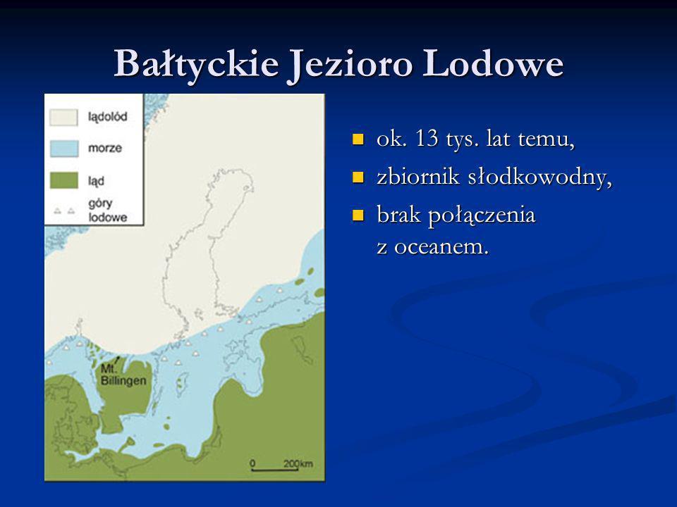 Bałtyckie Jezioro Lodowe ok. 13 tys. lat temu, zbiornik słodkowodny, brak połączenia z oceanem.