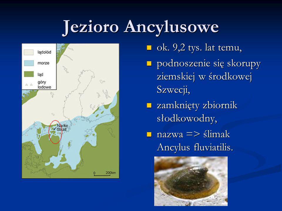 Jezioro Ancylusowe ok. 9,2 tys. lat temu, podnoszenie się skorupy ziemskiej w środkowej Szwecji, zamknięty zbiornik słodkowodny, nazwa => ślimak Ancyl