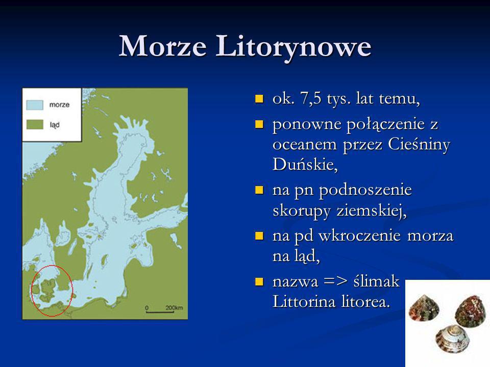 Morze Litorynowe ok. 7,5 tys. lat temu, ponowne połączenie z oceanem przez Cieśniny Duńskie, na pn podnoszenie skorupy ziemskiej, na pd wkroczenie mor