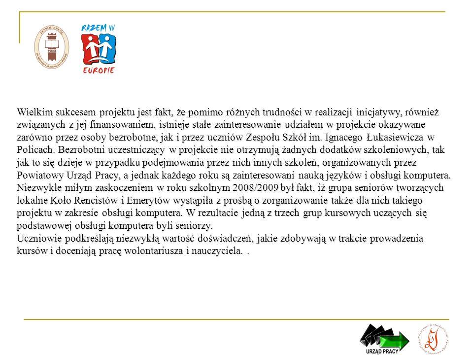 Edycjarok szkolnywolontariuszyszkolonychopiekunowieprzedmioty I2005/06- Karolina Bańka-Pociecha, - Grażyna Niegrebecka - język angielski, - język niemiecki II2006/071429- Karolina Bańka-Pociecha, - Grażyna Niegrebecka - język angielski, - język niemiecki III2007/08- Karolina Bańka-Pociecha, - Grażyna Niegrebecka, - Rafał Głuszyk - język angielski, - język niemiecki, - technologia informacyjna IV2008/091483- Karolina Bańka-Pociecha, - Grażyna Niegrebecka, - Rafał Głuszyk - język angielski, - język niemiecki, - technologia informacyjna V2009/1012- Karolina Bańka-Pociecha, - Grażyna Niegrebecka, - Rafał Głuszyk - język angielski, - język niemiecki, - technologia informacyjna koordynator projektu – Monika Andrzejewska koordynator organizacyjny – Agnieszka Bąk