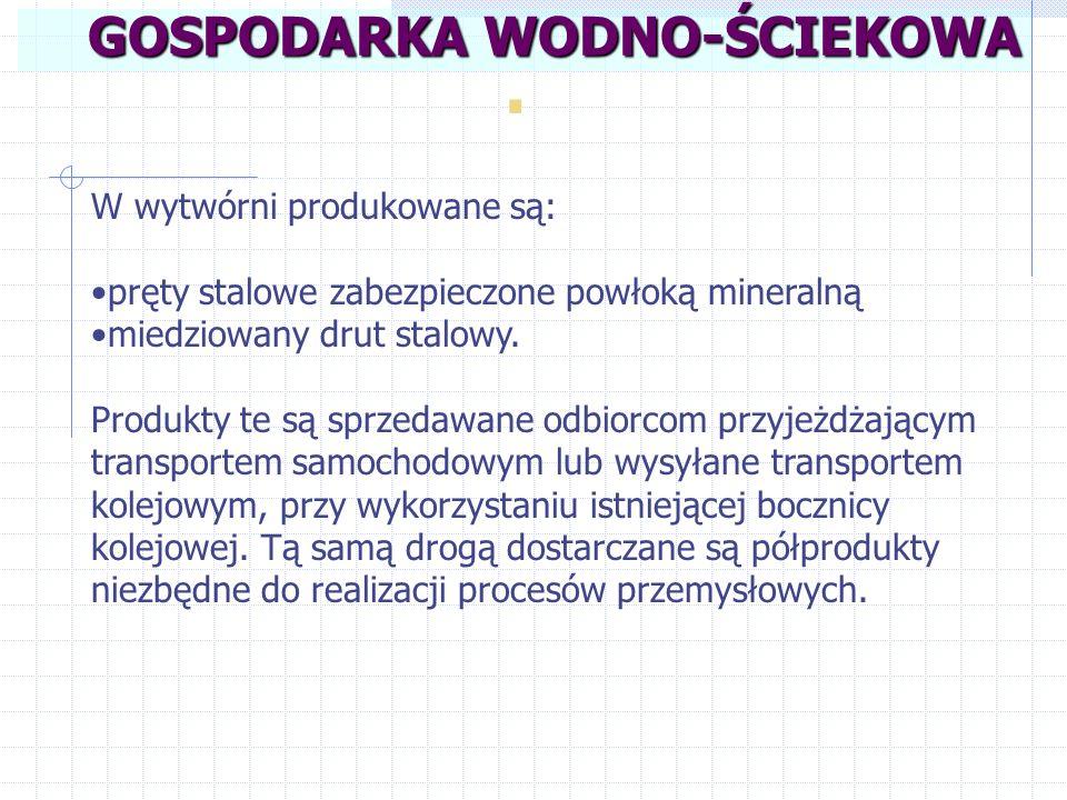 Powstające w zakładzie ścieki można zaliczyć do trzech grup: ścieki zawierające podwyższone zawartości zawiesin oraz zanieczyszczeń występujących w postaci koloidalnej (z odtłuszczania walcówki, z mycia urządzeń do mieszania i brykietowania masy mineralnej i mycia prętów niepełnowartościowych); ścieki o nadmiernych wahaniach odczynu (z płukania po trawieniu i miedziowaniu); silnie stężone ścieki (z trawienia i miedziowania).