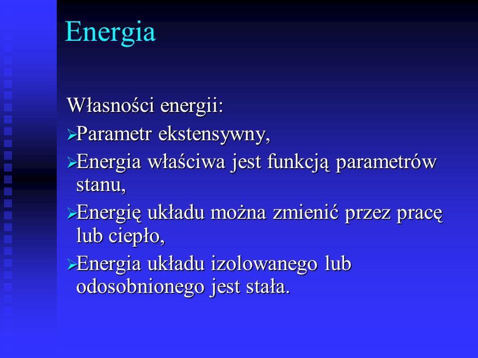 Energia Własności energii: Parametr ekstensywny, Parametr ekstensywny, Energia właściwa jest funkcją parametrów stanu, Energia właściwa jest funkcją p