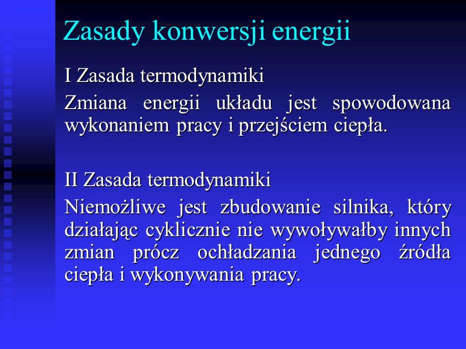Zasady konwersji energii I Zasada termodynamiki Zmiana energii układu jest spowodowana wykonaniem pracy i przejściem ciepła. II Zasada termodynamiki N