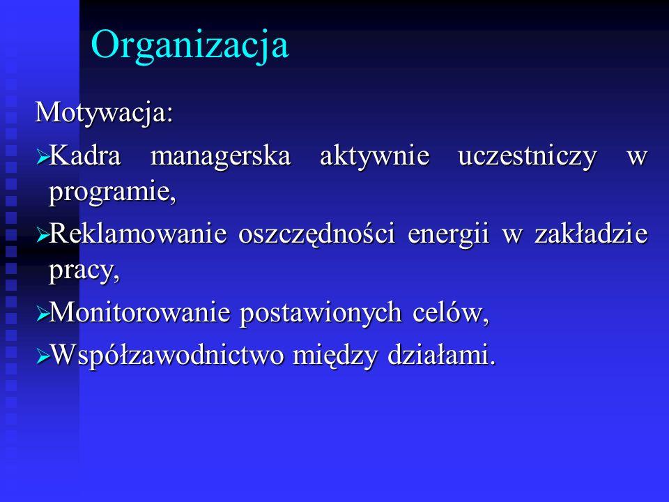 OrganizacjaMotywacja: Kadra managerska aktywnie uczestniczy w programie, Kadra managerska aktywnie uczestniczy w programie, Reklamowanie oszczędności