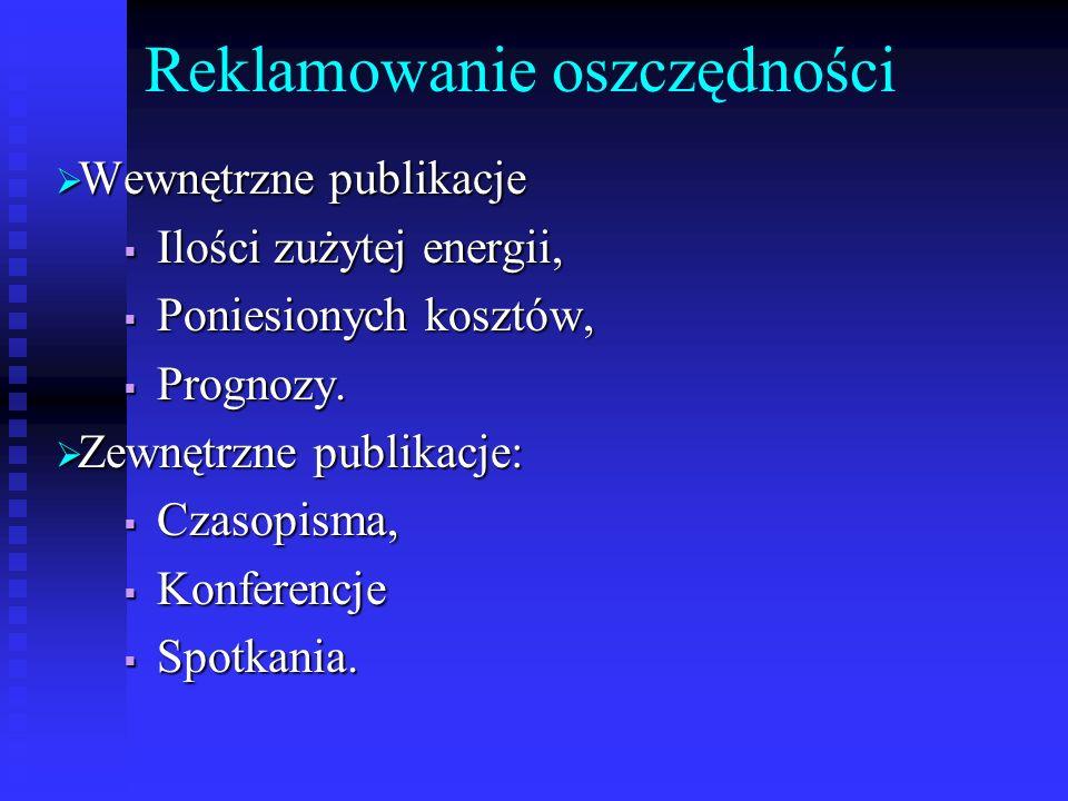 Reklamowanie oszczędności Wewnętrzne publikacje Wewnętrzne publikacje Ilości zużytej energii, Ilości zużytej energii, Poniesionych kosztów, Poniesiony