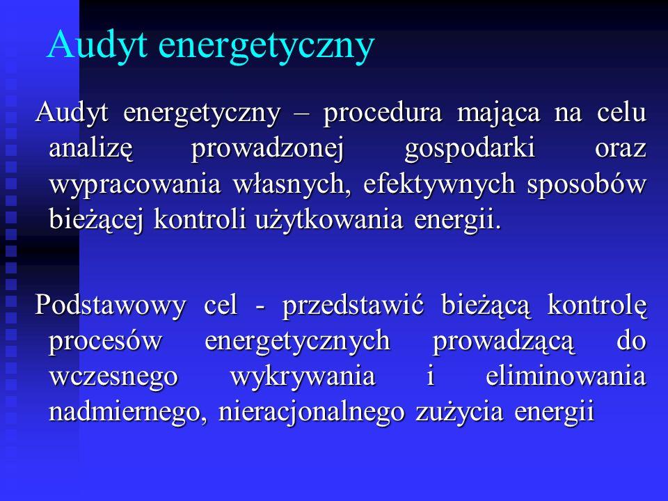 Audyt energetyczny Audyt energetyczny – procedura mająca na celu analizę prowadzonej gospodarki oraz wypracowania własnych, efektywnych sposobów bieżą