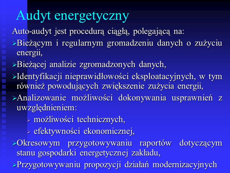 Audyt energetyczny Auto-audyt jest procedurą ciągłą, polegającą na: Bieżącym i regularnym gromadzeniu danych o zużyciu energii, Bieżącym i regularnym